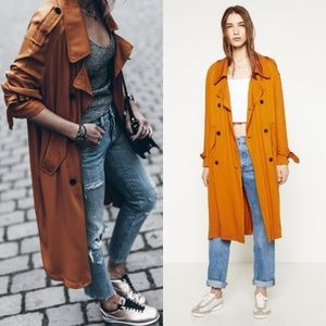 🆕 Zara Trench Coat with Horn Button